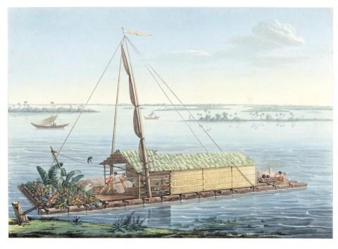 Floß auf dem Fluß Guayaquil -- Quelle: humboldt-portal.de