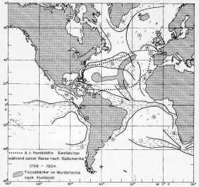 Die Seefahrten HUMBOLDTs während seiner amerikanischen Tropenreise (1799-1804) (Quelle: HiN)