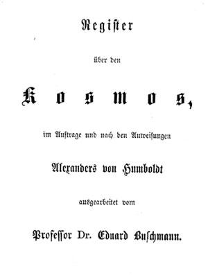 Deckblatt des Kosmos-Registers von Eduard Buschmann