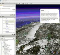 Humboldts amerikanische Reiseroute auf Google Earth (Quelle: Humboldt Digital Library)