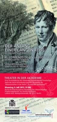 """09.07.2013, Theater: """"Der Anfang einer langen Reise. Humboldt auf Teneriffa. El comienzo de un largo viaje. Humboldt en Tenerife"""", Berlin"""