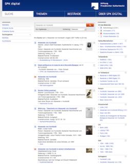 SPK digital: übergreifende Suche zu Humboldtiana im Katalog der Stiftung Preußischer Kulturbesitz