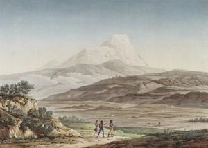 """Plate XLII """"42_Vue du Cayambe"""" in: Humboldt, Alexander von ([1810-]1813): Vues des Cordillères et monumens des peuples indigènes de l'Amérique. Paris: Schoell."""