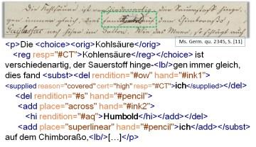 TEI-konforme Manuskript-Annotation (Detail: SBB-PK, Ms. Germ. qu. 2345, S . [11])