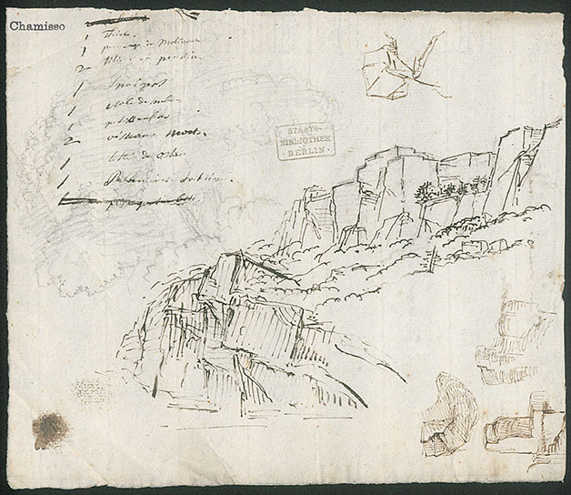 List of vocabulary and 6 landscape drawings. Literary Estate Adelbert von Chamisso, K. 3, Nr. 23, Bl. 4. Berlin State Library - Prussian Cultural Heritage (CC BY-NC-SA 3.0 DE)
