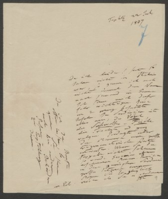 Alexander von Humboldt an Franz Julius Ferdinand Meyen. Teplitz, 22. Juli 1837. Märkisches Museum – Stiftung Stadtmuseum Berlin, Berlin, Dokumentensammlung, Alexander von Humboldt, IV 74, 818 Q