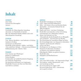 A.v. Humboldt, Minerale und Gesteine, Göttingen: Wallstein 2019, Inhaltsverzeichnis