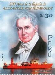 Briefmarke der peruanischen Post: A.v. Humboldt und das Forschungsschiff
