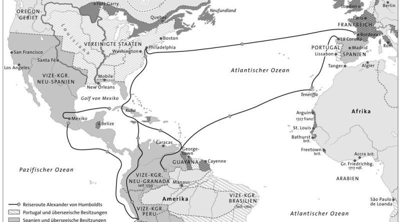 Humboldts Reiseroute Europa-Amerika im Kolonialsystem der Zeit