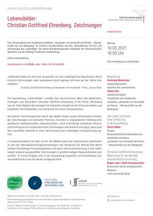 Flyer (PDF) zur Online-Eröffnung der Ehrenberg-Ausstellung