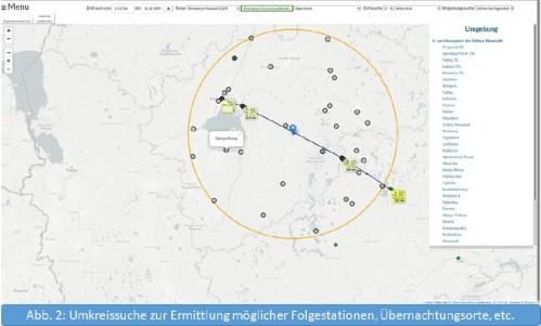 Umkreissuche zur Ermittlung möglicher Folgestationen, Übernachtungsorte etc.