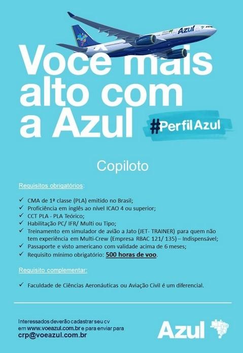, Azul volta a contratar Copiloto, Portal Aviação Brasil