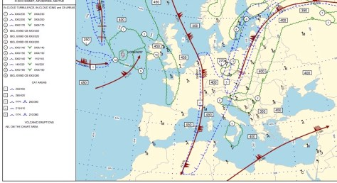 Significant Weather Chart showing the Jet Stream and associated CAT areas. Photo: Crewbriefing.com