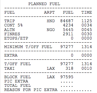 Fuel information in the flightplan
