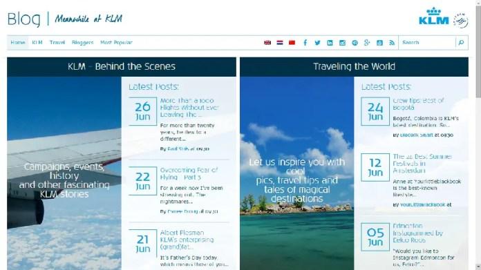 Página principal del Blog de KLM