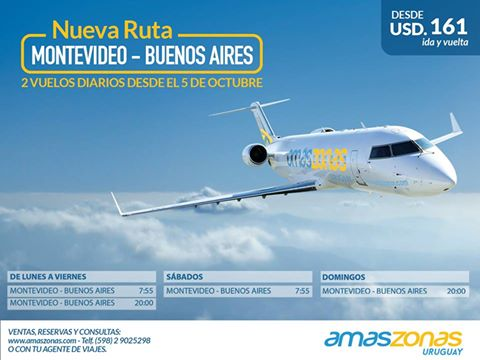Placa promocional de los vuelos de Amaszonas Uruguay.