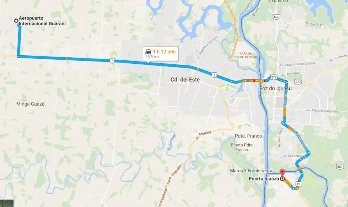 Distancia entre Puerto Iguazú y el aeropuerto de Ciudad del Este
