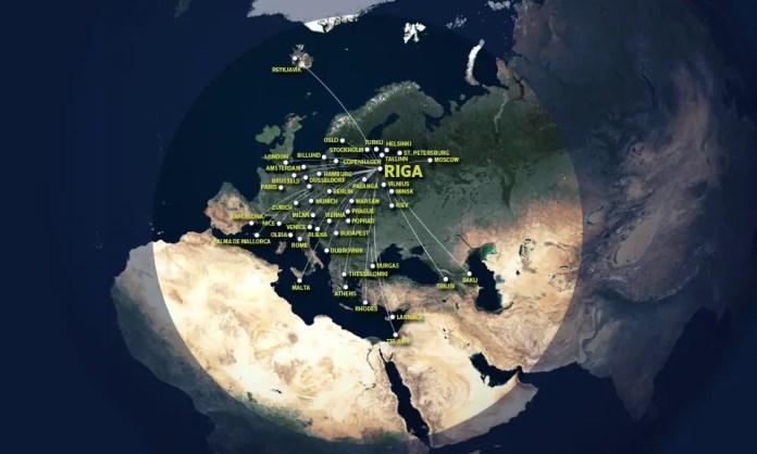 Destinos actuales de airBaltic vs el radio de alcance del CS300.