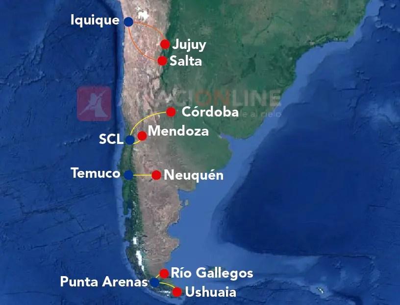 Rutas aéreas hacia Chile desde el interior argentino (Verano 2016/2017)