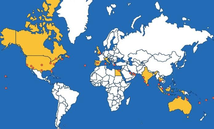 Los puntos que recorrió Shaesta en su vuelo alrededor del mundo.