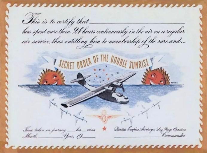Certificado que se le brindaba a aquellos que realizaban el vuelo de más de 28 horas