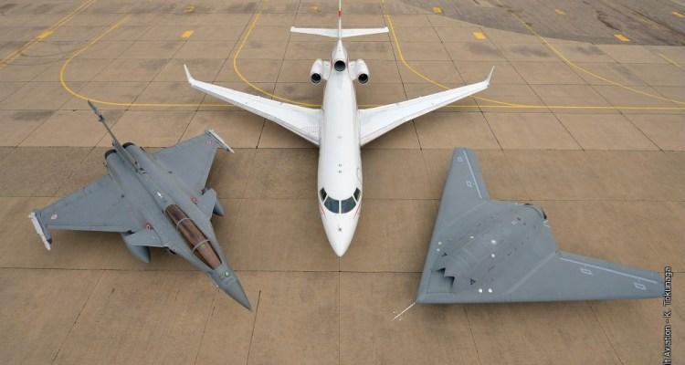 Dassault formation Flight - nEUROn, Rafale & Falcon 7X on the ground.