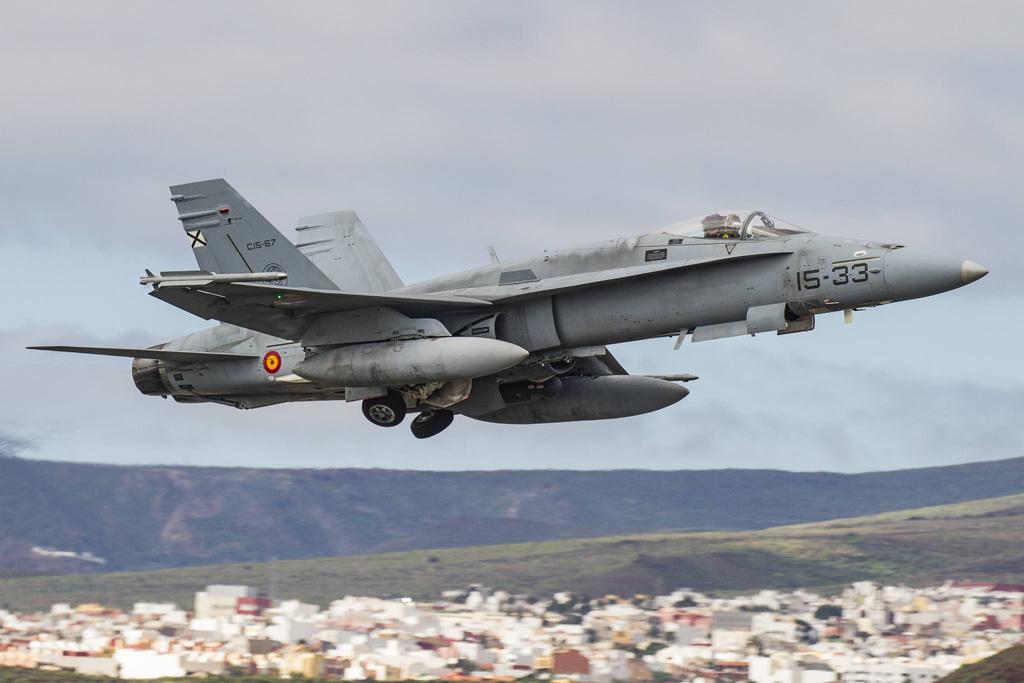 F-18 Hornet Ejercito del Aire in decollo