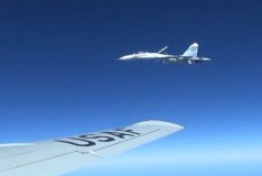 A U.S. RC-135U flying in international airspace over the Baltic Sea was intercepted by a Russian SU-27 Flanker June 19, 2017. Due to the high rate of closure speed and poor control of the aircraft during the intercept, this interaction was determined to be unsafe. (Courtesy photo/Released)