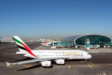 Emirates Airbus A380 aircraft at its hub at Dubai International Airport