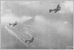 THE BATTLE OF BRITAIN (CH 1822) Camera gun film still of Luftwaffe Heinkel He 111 bombers under attack from an RAF fighter, 1940. Copyright: © IWM. Original Source: http://www.iwm.org.uk/collections/item/object/205222005