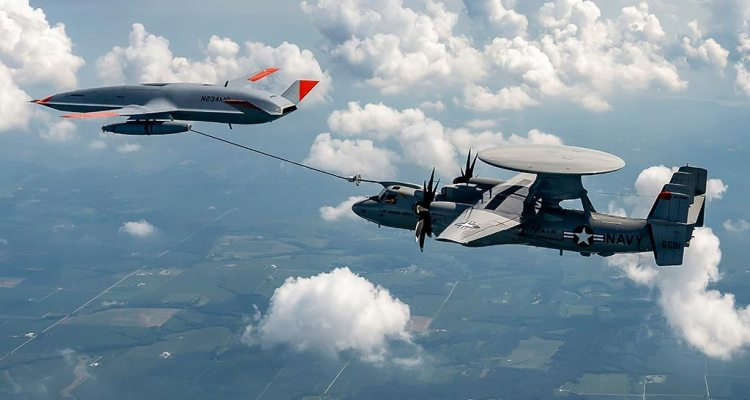 MQ-25 Stingray refueling E-2D Hawkeye