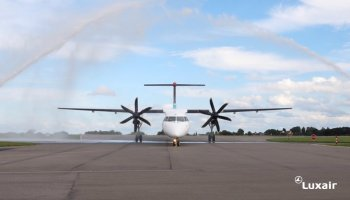 Luxair aircraft loses an engine cowling panel during take