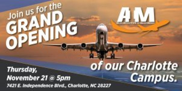 Aviation Institute of Maintenance Charlotte North carolina Grand opening details with an airplane taking off.