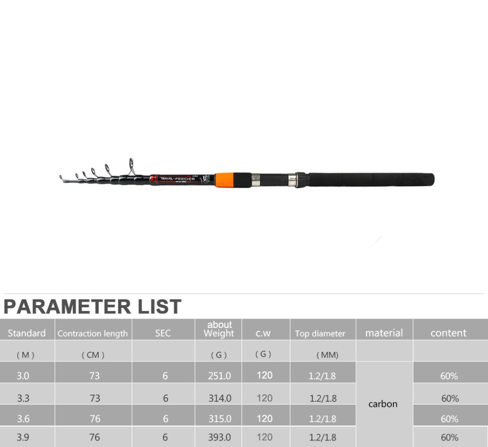 Fish King Telescopic feeder rod 3.0m-3.9m 2 Section C.W 120g Extra Heavy Fishing Feeder Rods 60% Carbon Fiber Feeder Rod 18