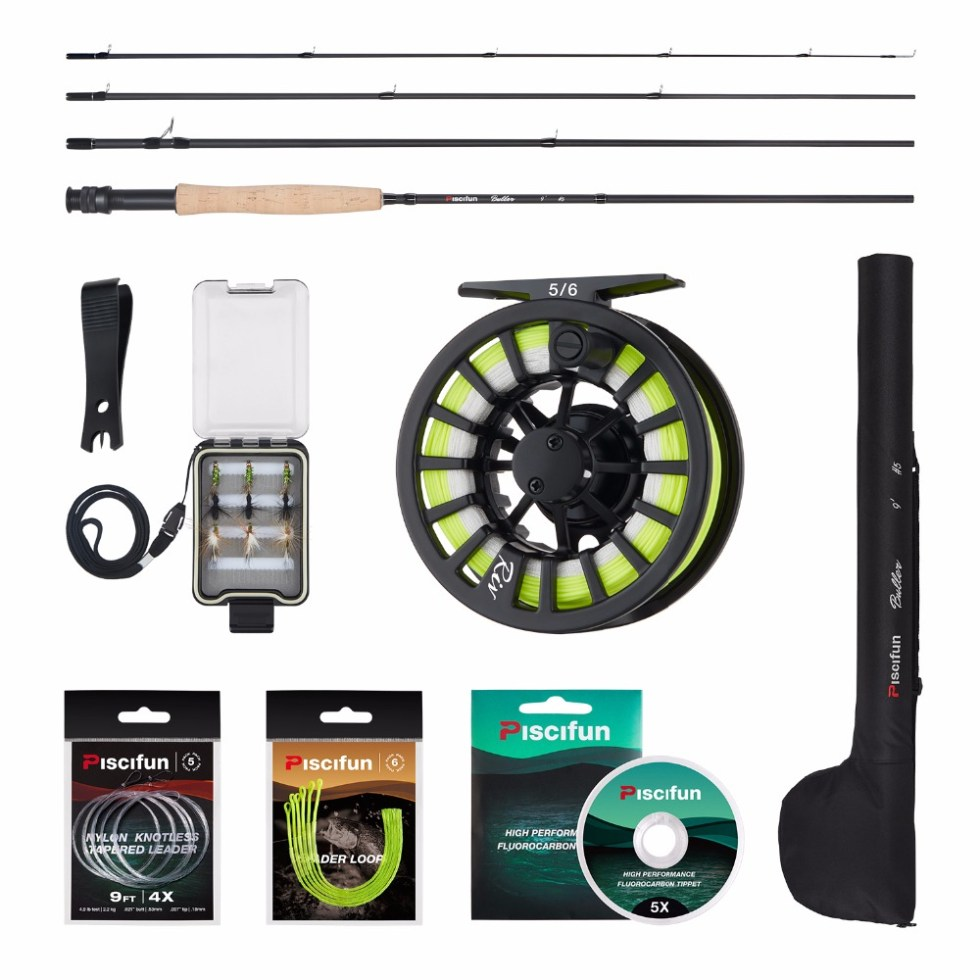Piscifun Aluminum 5/6 Fly Reel 2.7m Carbon Rod Fly Line/Backing Line/9 PCS Flies/Tackle Box With 77cm Rod Bag Fly Rod Combo 2