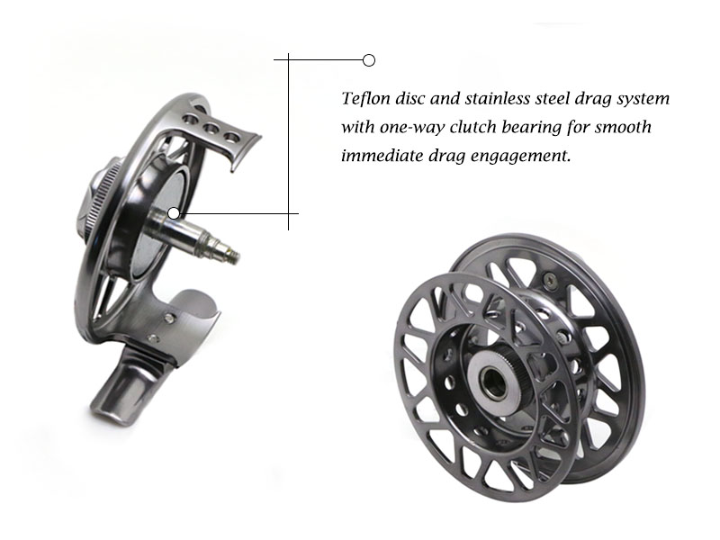 Angryfish Full Metal Fly Fishing Reel 2+1BB Aluminum Alloy Die Casting Fly Reel Fishing Reel with Large Arbor 12