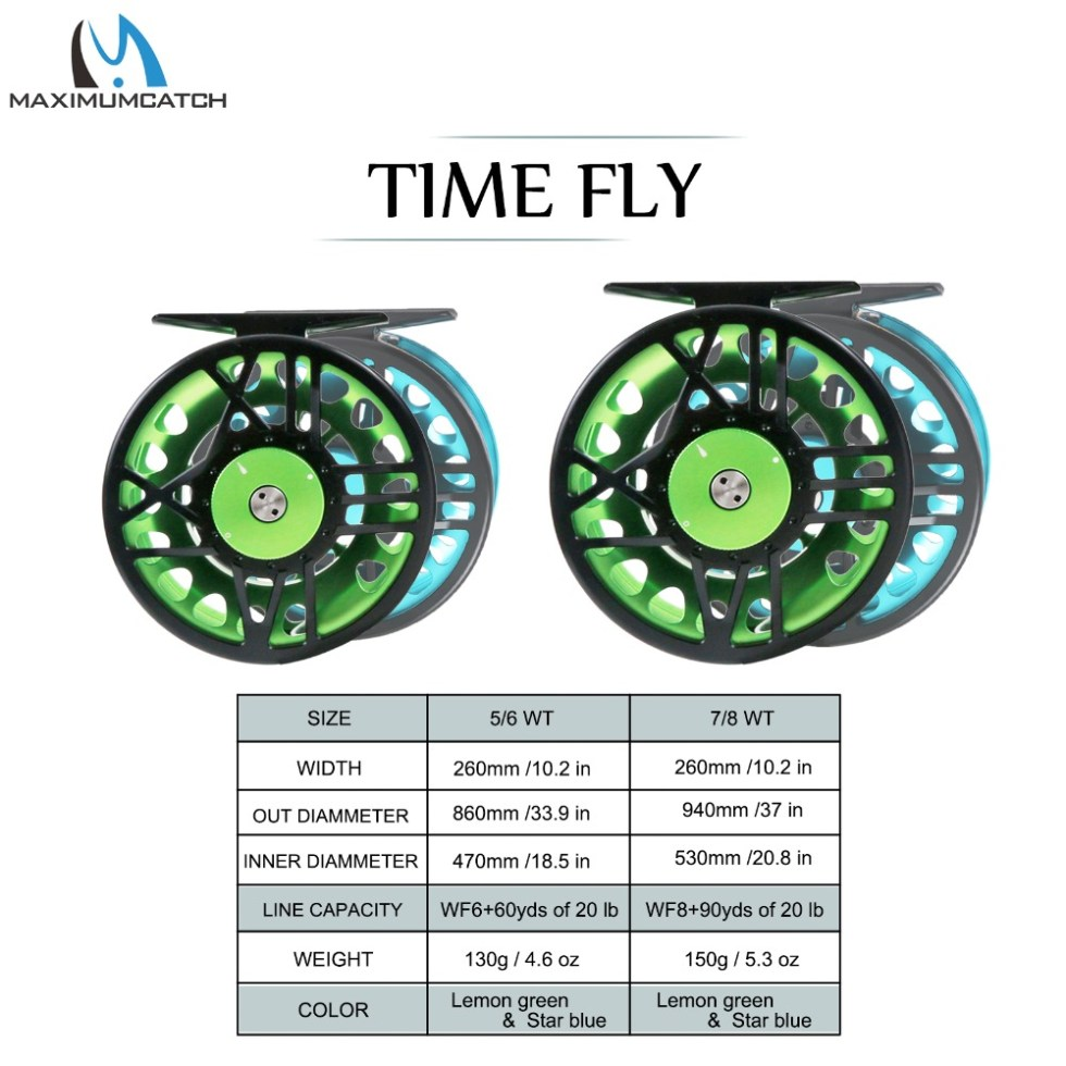 Maximumcatch TimeFly 5/6/7/8wt Fly Reel CNC Machined Cut Aluminum Teflon Disc Drag System Fly Fishing Reel Blue/Green Color 4