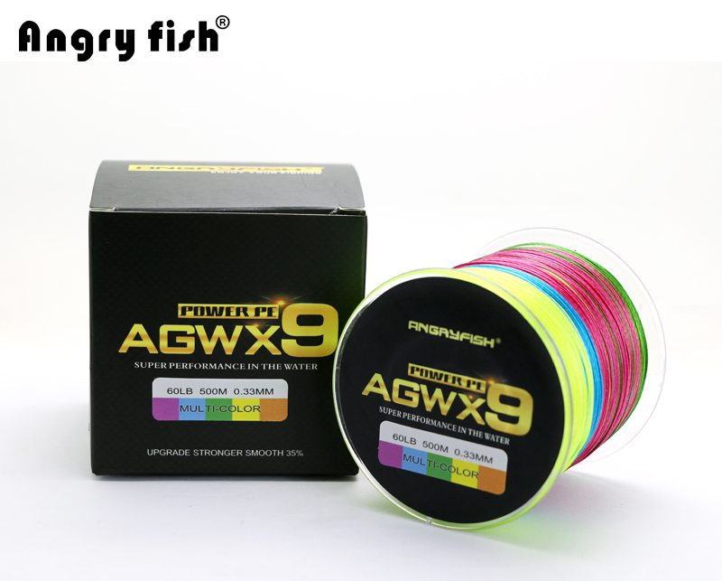Angryfish 500M 9 Strands Super Multicolor PE Braided Fishing Line Strong Strength Fish Line 1