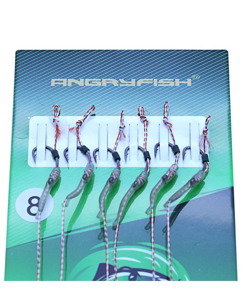 Angryfish Hot 1pack 6pcs Carp Fishing Hook Link Coated Hook Link Ready Tied HK-G006 9