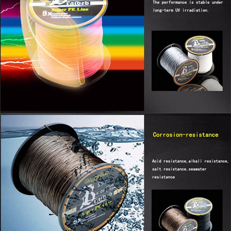 Angryfish Wholesale 500 Meters 8X Braided Fishing Line 11 Colors Super Strong PE Line 6