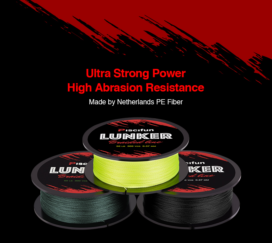 Piscifun Lunker 274M Fishing Line 0.06-0.5mm 4 Strands 6-80lb Strong Netherlands PE Fiber three colors Braided fishing Line 1