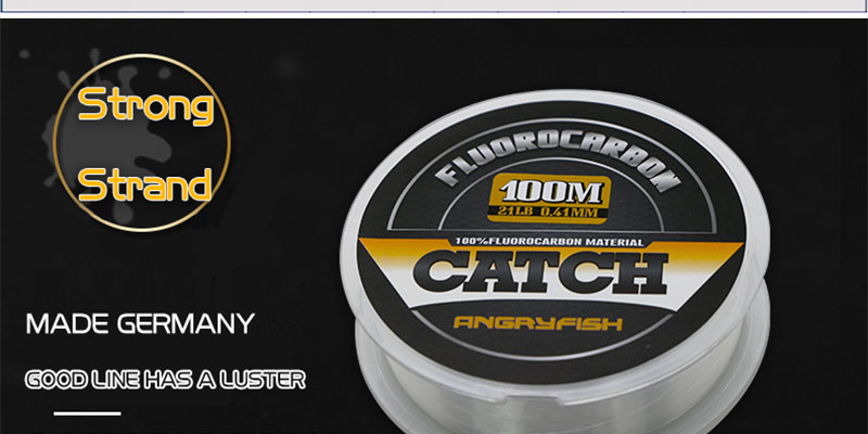 Angryfish 100% Fluorocarbon Fishing Line 100m Transparent Carbon Monofilament Line Super Strong Free Shipping 4