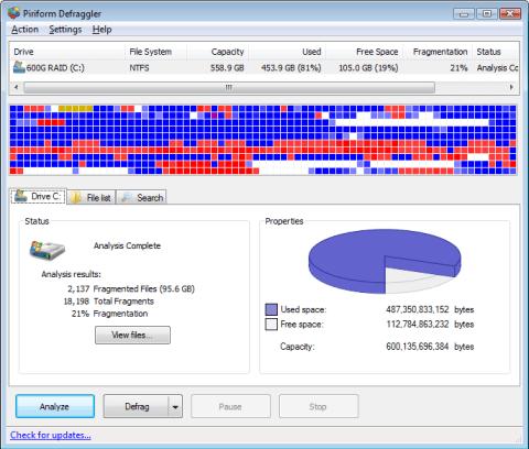 Defrag files, folders or drive with Defraggler 3
