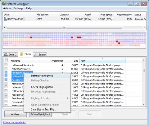 Defrag files, folders or drive with Defraggler 4