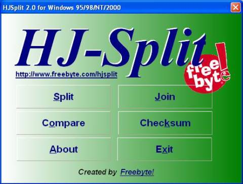Split and join files of any type or size easily with HJSplit 1