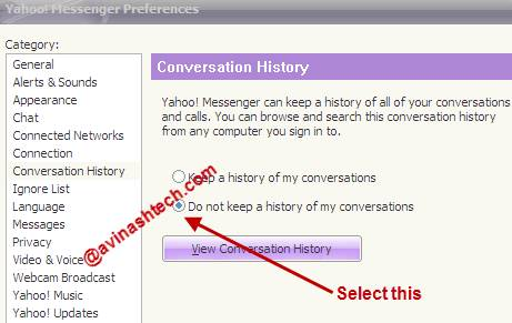 Yahoo Conversation history off - How to delete Yahoo messenger online chat history