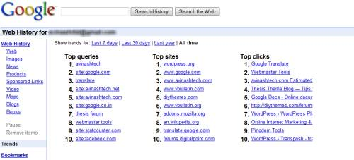 Google Search webHistory: some Facts and Remedies 5
