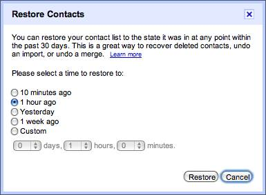 Restore full Gmail contacts list to an earlier saved version 2