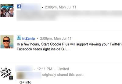 Google+ twitter facebook stream