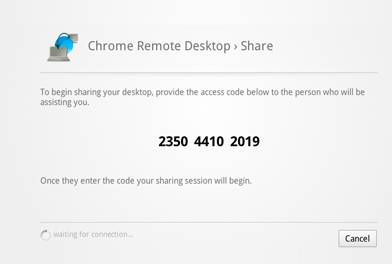 Remote desktop chrome code